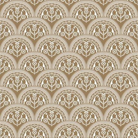Seamless beige and white floral arcs wallpaper. Vector background. Vintage damask pattern backdrop. Ilustrace