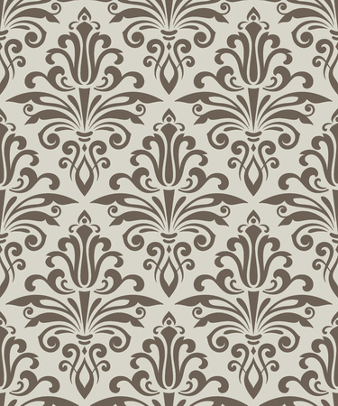 Beige seamless vintage wallpaper pattern vector template. Seamless wrapping paper, textile or upholstery print. Vector illustration.