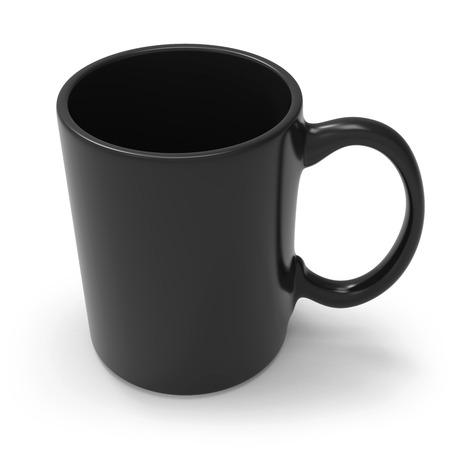 Black mug isolated on white background. 3D rendering.