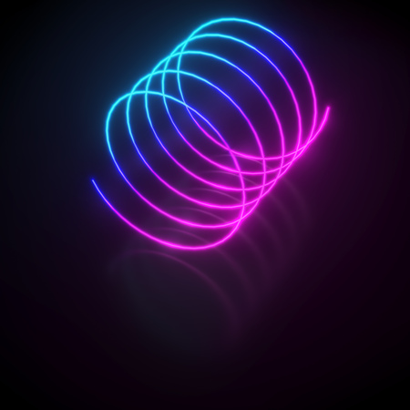 Colorful neon light helix on reflective floor background copy space. 3D rendering. Stock Photo