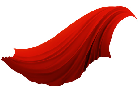 Abstract red cloth swaying in the wind isolated on white background. 3D rendering. Veil wave design element. Фото со стока