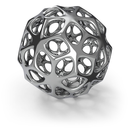 3d chrome wireframe ball isolated on dark grey background. 3D rendering. Abstract metal decoration. Stok Fotoğraf