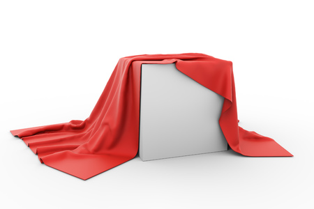 Blank box covered with piece of red cloth. 3D rendering.