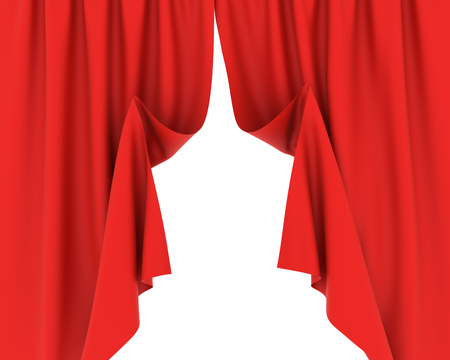 Red curtains half-opened with white background. 3D rendering.