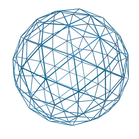 Blue wireframe sphere isolated on white background. 3D rendering.