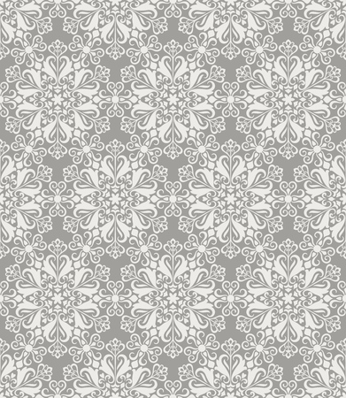 Beige and white seamless floral wallpaper pattern vector template. Seamless wrapping paper, textile or upholstery print. Vector illustration.