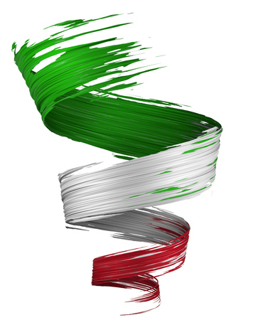 3D brush paint stroke swirl in Italy flag colors isolated on white background. 3D rendering. Colorful joyful design. Color oil paint curved smear. Italian flag design element.