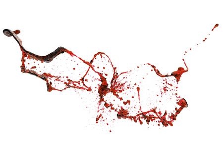 Red blood splash isolated on white background. 3D rendering. Stock Photo