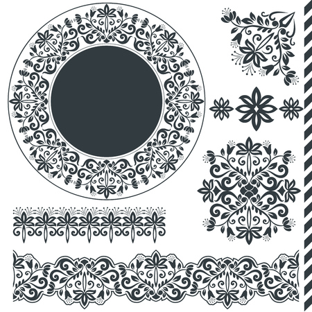 Seamless floral border elements and round frame vector template. Ornament repeating dividers.