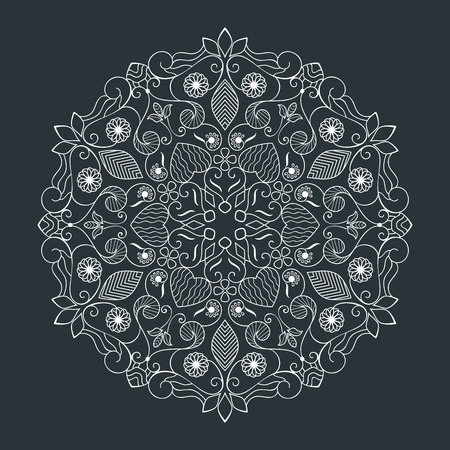 Black and white round floral element vector illustration. Circular flower line art design isolated on dark background.