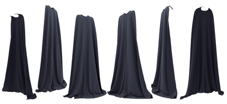 Witch black cape hanging from shoulders set isolated on white background. 3D rendering. Front, back and side view. Helloween concept.