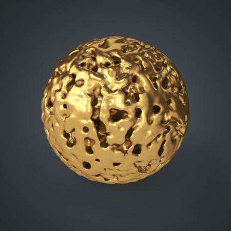 3d gold eroded ball isolated on dark grey background. 3D rendering. Abstract golden decoration.