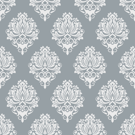 Grey and white seamless vintage wallpaper pattern vector template. Seamless wrapping paper, textile or upholstery print. Vector illustration.
