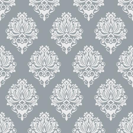 Szary i biały bezszwowe tapeta wzór wektor szablon. Bezszwowy nadruk na papierze pakowym, tekstyliach lub tapicerce. Ilustracja wektorowa.