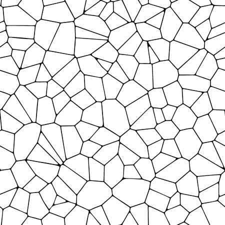 Seamless stone pavement seams black and white texture. Repetitive Voronoi pattern. Vector illustration.