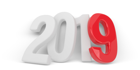 New 2019 year white figures with red 9 leaned to the white wall isolated on white background. Calendar template. 3D rendering.