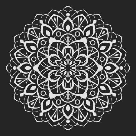 Black and white round floral element vector illustration. Circular flower line art design isolated on black background.