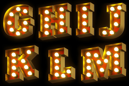 Light bulb cinema or night show 3D font on black background. Entertainment industry red and gold retro letters. Set 2 - G, H, I, J, K, L, M. 3D rendering. Banco de Imagens