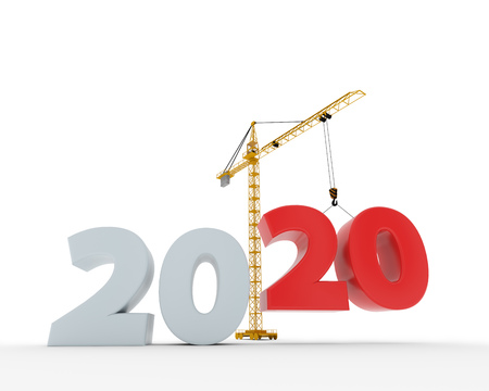 New 2020 year construction background with tower crane setting down red twenty figure. 3D rendering. 2020 year calendar design.