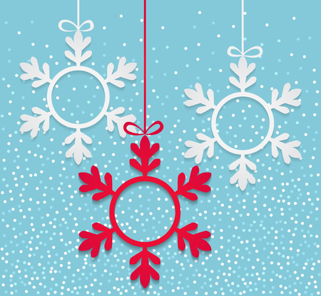 Winter background with hanging snowflake shapes with copy space inside. Christmas banner design. Vector illustration. Stock Illustratie