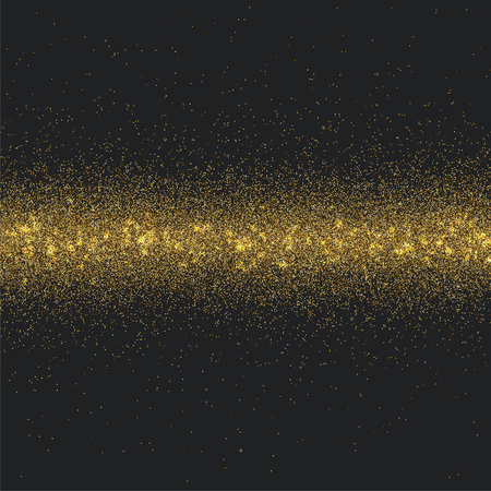 Stripe of gold tinsel on black background. Festive gold dust background. Vector illustration.