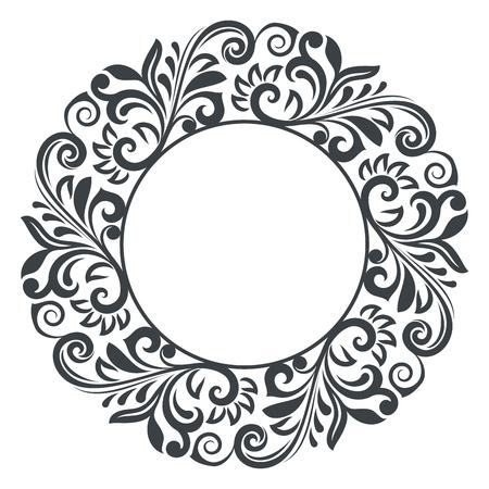 Illustration vectorielle de cadre floral rond noir et blanc. Conception de fleur circulaire isolé sur fond blanc. Vecteurs
