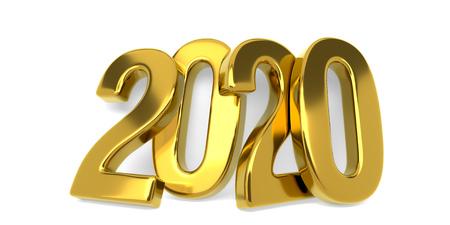Nowe złote figurki 2020 roku pochyliły się do białej ściany na białym tle. Renderowanie 3D.