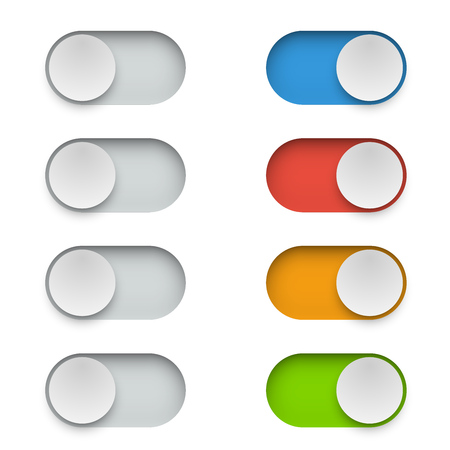 Color switch button in On and Off mode. Toggle modern UI elements set on white background. Banque d'images - 117106365
