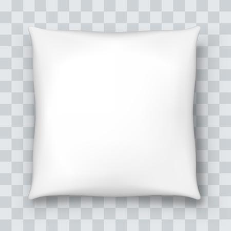 Oreiller blanc isolé sur fond quadrillé. Illustration vectorielle. Vecteurs