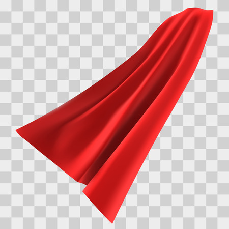 Superhero red cape isolated on checkered background. Vector illustration. Side view. Superpower concept. 矢量图像