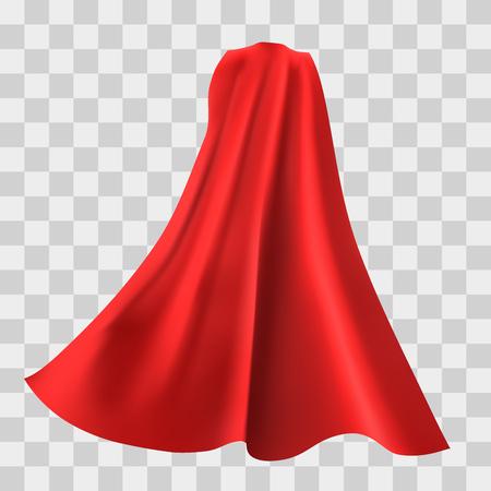 Mantello rosso del supereroe isolato su sfondo a scacchi. Illustrazione vettoriale. Vista posteriore. concetto di superpotenza. Vettoriali