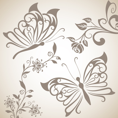 Butterflies and flowers shapes background. Abstract spring or summer background. Vector illustration.