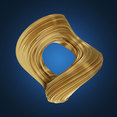 Abstract smooth twisted 3D shape on blue background. Golden deformed ring. 3D rendering.