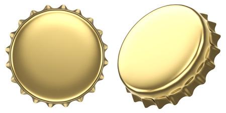Blank golden beer bottle cap isolated on white background. 3D rendering. 版權商用圖片