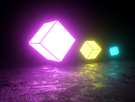 Colorful floating cube neon lights background. Bright glowing cube shapes backdrop. 3D rendering. Banque d'images