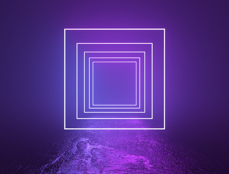 Illuminated purple and violet square frames background. Neon lights background. Bright glowing line lights backdrop. 3D rendering.
