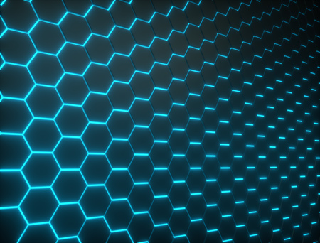 Hexagon shapes wall with glowing light seams. Technology background. 3D rendering.