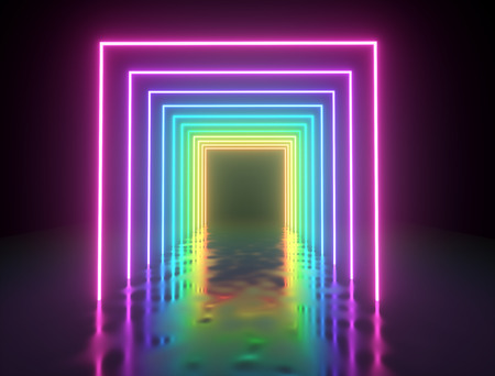 Illuminated colorful square frames passage. Neon lights background. Bright glowing line lights backdrop. 3D rendering. Banco de Imagens
