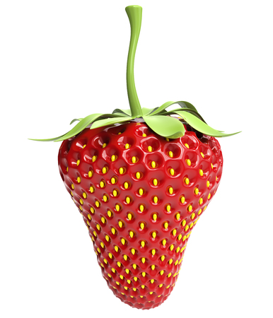 Artificial red strawberry on white background. 3D rendering. 写真素材