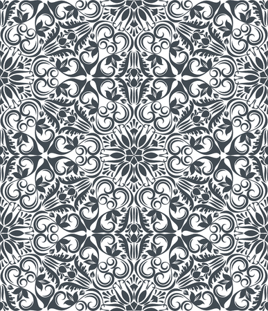 Seamless black and white flower vector pattern. Seamless wrapping paper, textile or upholstery flower print. Ilustrace
