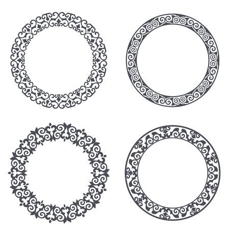 Black and white round floral frame set vector illustration. Circular flower design isolated on white background. Vektoros illusztráció