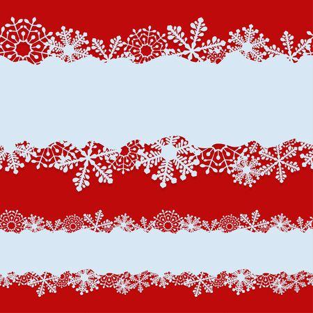 Nahtlose Weihnachtsfahne mit weißem Kopienraum mit geschnittener Schneeflocke formt Vektorschablone. Vektorgrafik