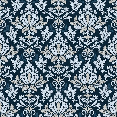 Seamless blue toned flowers vector background. Vintage wallpaper pattern.