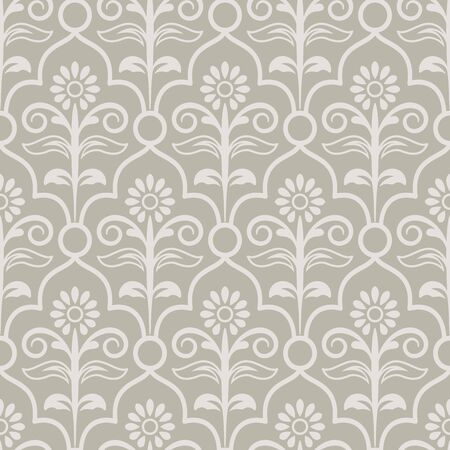 Seamless light beige and white floral wallpaper vector background. Vintage pattern backdrop.