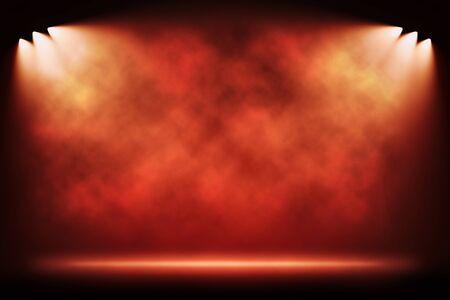 Six side red light spotlights illuminating empty stage background. Raster illustration lightning template.