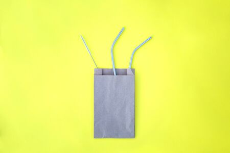 The beautiful metal straw and the brush for cleaning it for party sustainable goods Banco de Imagens