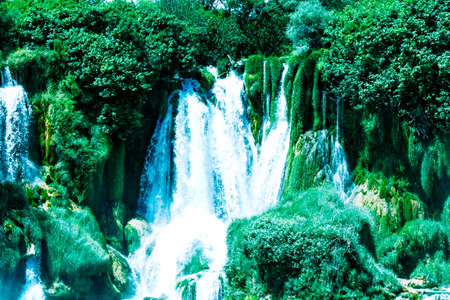 Kravice waterfall on the Trebizat River in Bosnia and Herzegovina. Miracle of Nature in Bosnia and Herzegovina. The Kravice waterfalls, originally known as the Kravica waterfalls