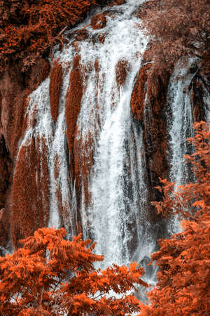 Autumn gold Kravice waterfall on the Trebizat River in Bosnia and Herzegovina. Fall Miracle of Nature in Bosnia and Herzegovina. The Kravice waterfalls, originally known as the Kravica waterfalls