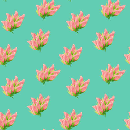 Floral seamless pattern made of roses. Acrilic painting with pink flower buds on turquoise background. Botanical illustration for fabric and textile, packaging, wallpaper.