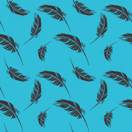 Blue Seamless pattern with hand-drawn feathers, Great for wedding decor, wrapping paper, background, fabric print, web page backdrop, wallpaper. 写真素材